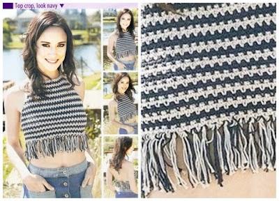 Top Crop de una pieza con flecos a crochet