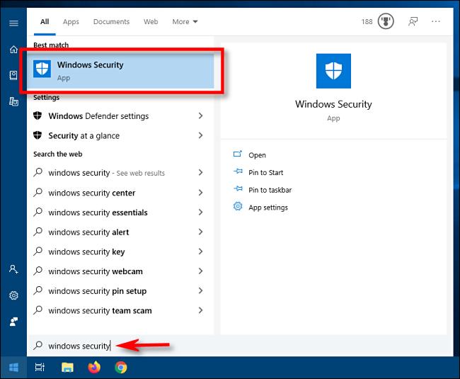 ابدأ تشغيل أمان Windows من قائمة ابدأ في Windows 10