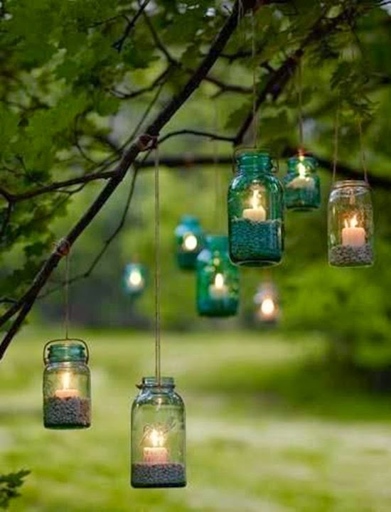 Country backyard wedding Mason Jar Lights Garden decorations