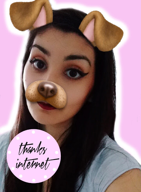 cute girl using snapchat dog filter