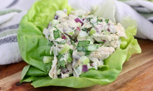 Cucumber Dill Rotisserie Chicken Salad #lunch #healthy