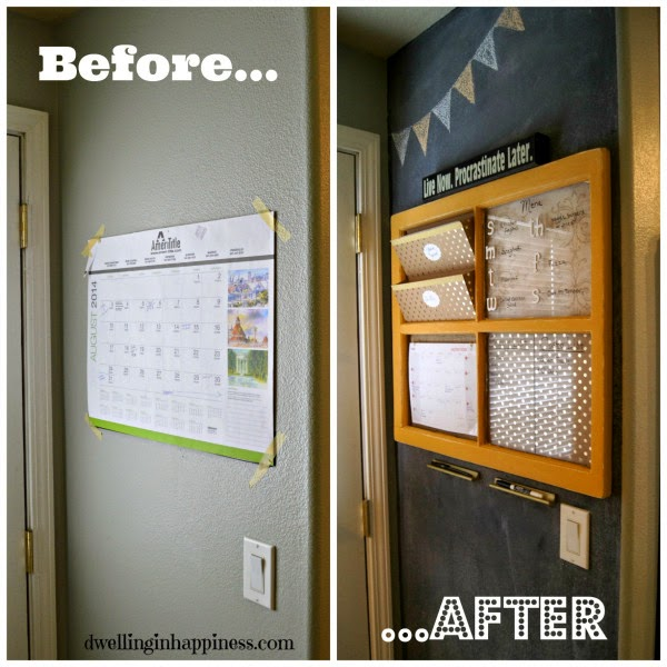 A paper calendar before and after a wall calendar with wood and all organized.