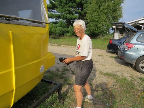 drilling in a fiberglass trailer