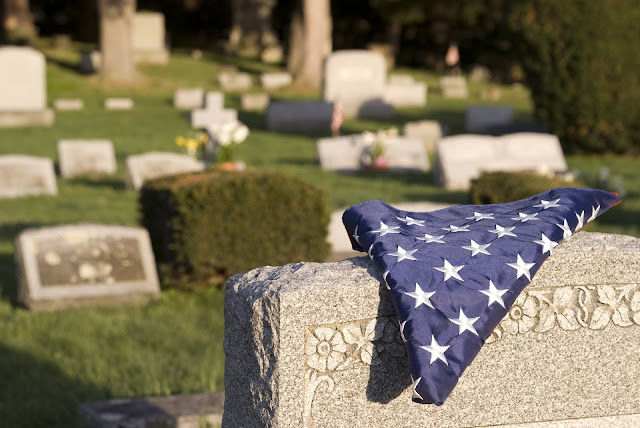 flag on a tombstone
