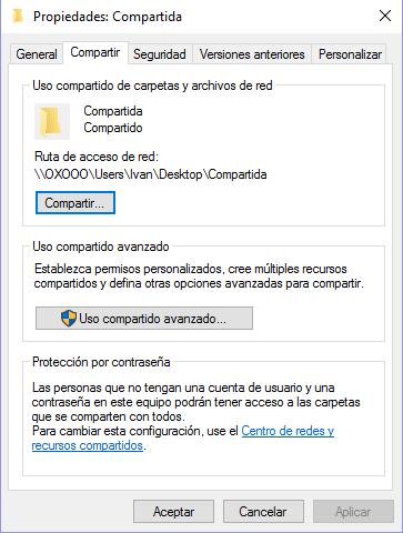 Compartir archivos y carpetas en Windows
