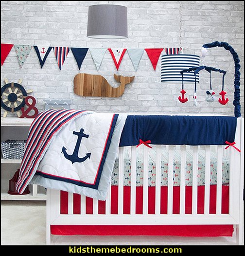 Anchors Away Crib Set  nautical crib bedding  nautical nursery wall decals - nautical crib bedding - nautical baby bedrooms nautical baby decor - baby kids nautical decor - little girls nautical nursery - boys nautical nursery