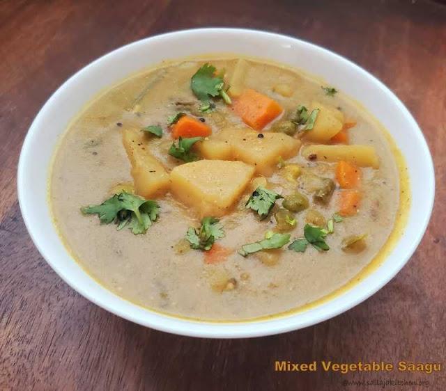 images of Sagu Recipe / Mixed Vegetable  Sagu Recipe / Vegetable Saagu Recipe / Mixed Veg Saagu / Karnataka Mixed Vegetable Sagu Recipe
