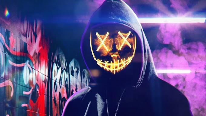 Anonimo com Máscara de Neon