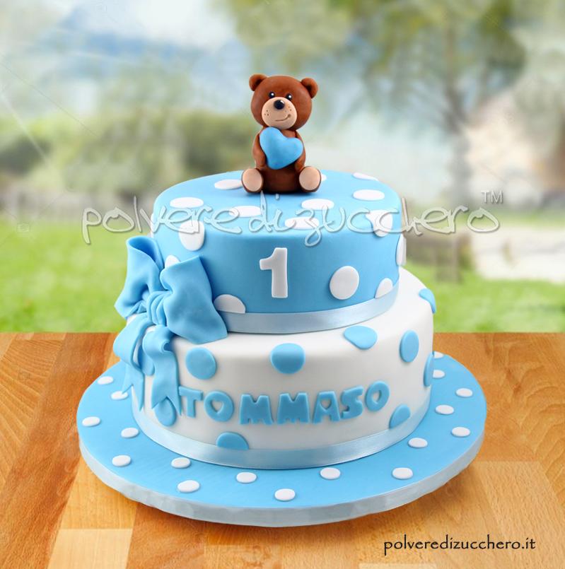 torta battesimo compleanno cake design pasta di zucchero orsetto 2 piani maschio baby boy polvere di zucchero