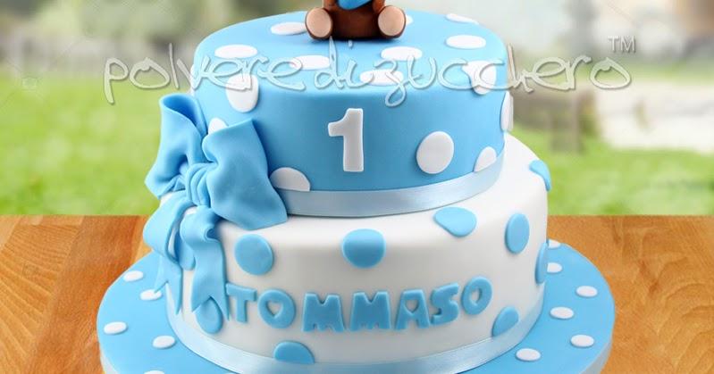 Torta 1 Compleanno Per Un Bimbo A Due Piani Con Orsetto