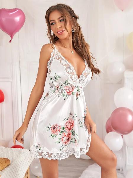 Moda jovem ~ Romântico Lingerie Laço Contraste Floral