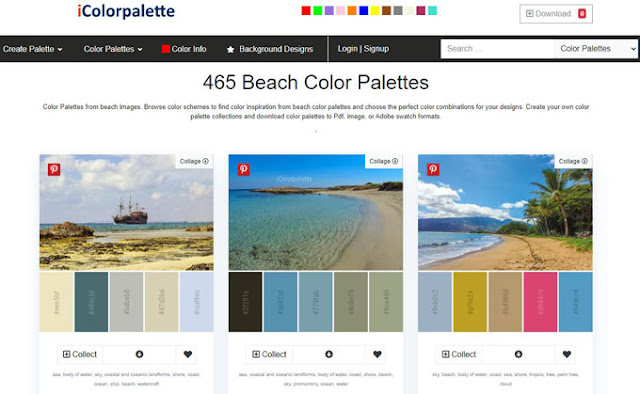 beach color palettes from iColorpalette.com