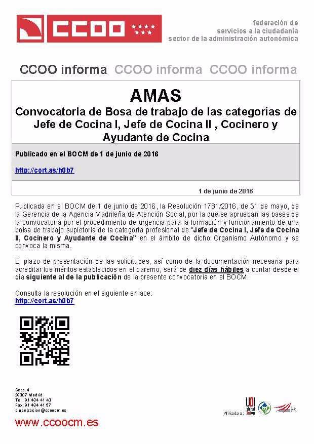 Uni n comarcal las vegas ccoo convocatoria de bolsa de for Trabajo jefe de cocina