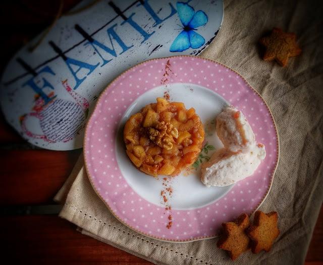 tartare di mela cotta con quenelle di panna e ricotta agli agrumi