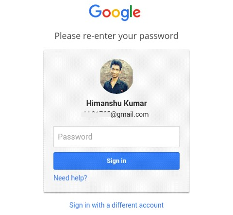 re-enter your account password
