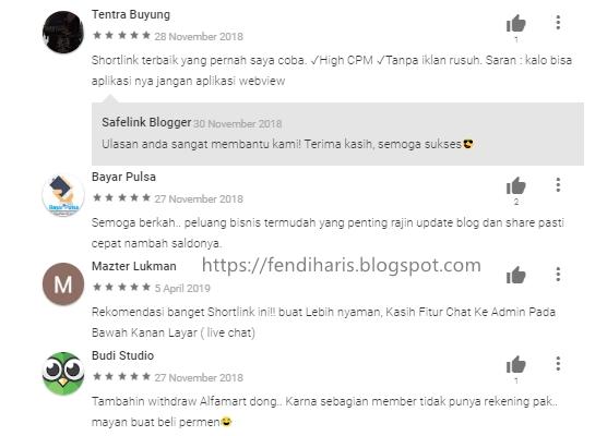 Review Aplikasi Safelink Blogger di Google Play