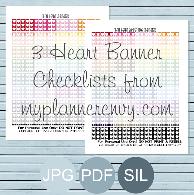 Free Printable 3 Heart Banner Checklists from myplannerenvy.com