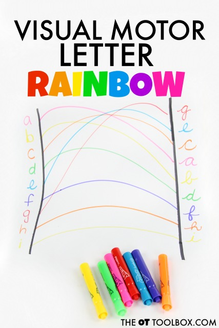 Kids can work on the skills needed for handwriting with this visual motor letter rainbow.