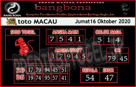 Prediksi Bangbona Toto Macau Jumat 16 Oktober 2020