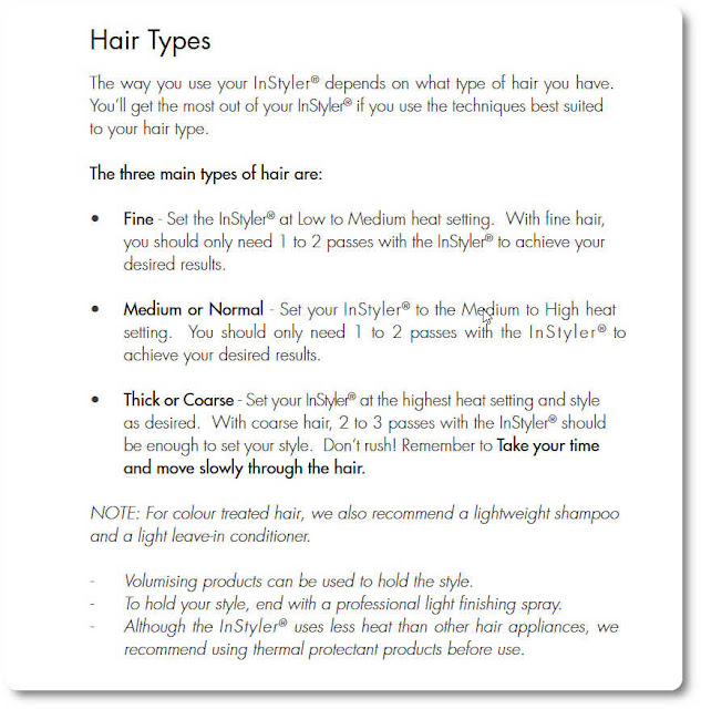 Temperature settings for hair types