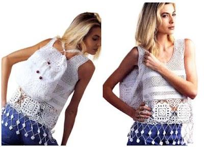 Patron Crochet Conjunto Top y Mochila
