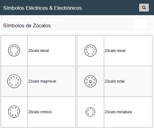 Símbolos de Zócalos de Válvulas Electrónicas