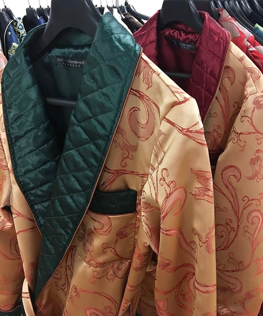 mens long silk dressing gown quilted smoking jacket robe paisley gold green red