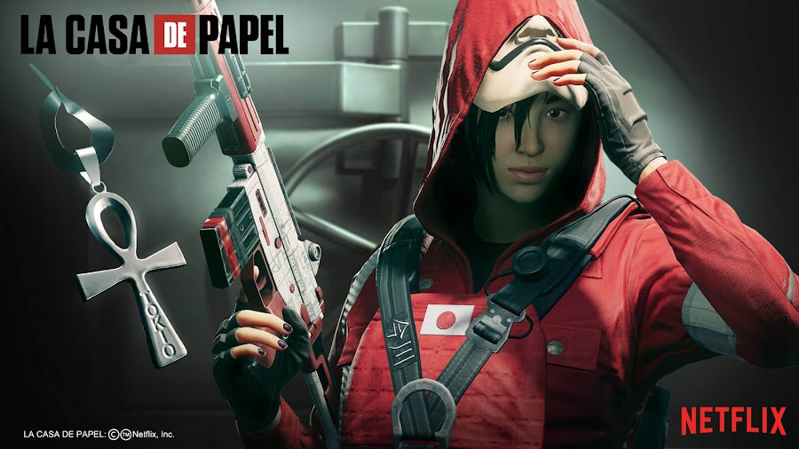 rainbow six siege money heist limited time event attacker hibana heist bundle red uniform emboldened headgear regal mint weapon skin type-89 tokyo charm hostage match