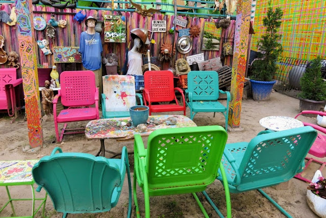 Outdoor armchairs at Randyland in Pittsburgh, Pennsylvania