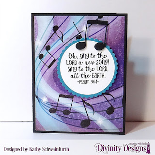 Custom Dies:  Book Fold Card with Layers, Guitar, Musical Notes, Scalloped Circles, Circles, Pierced Oval, Pierced Circles Stamps:  Color My World Paper Collection: Notable Notes