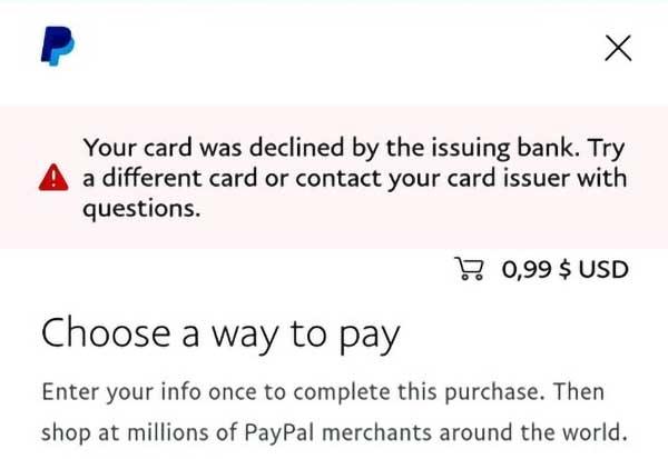 Kartu Debit BCA Declined Verifikasi Paypal