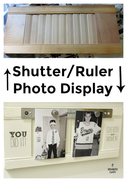 A Different Twist On A Repurposed Shutter Photo Holder #shutters #repurpose #upcycle #rubons #photodisplay #photodisplayideas #gallerywall