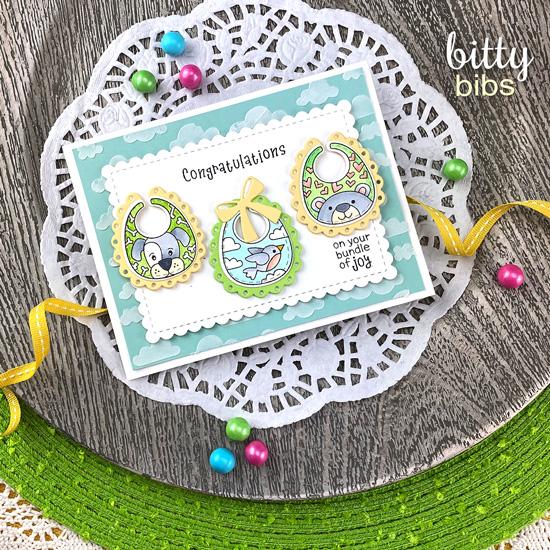 Baby Bib Card by Jennifer Jackson | Bitty Bibs Stamp Set and Baby Bibs Die Set by Newton's Nook Designs #newtonsnook #handmade