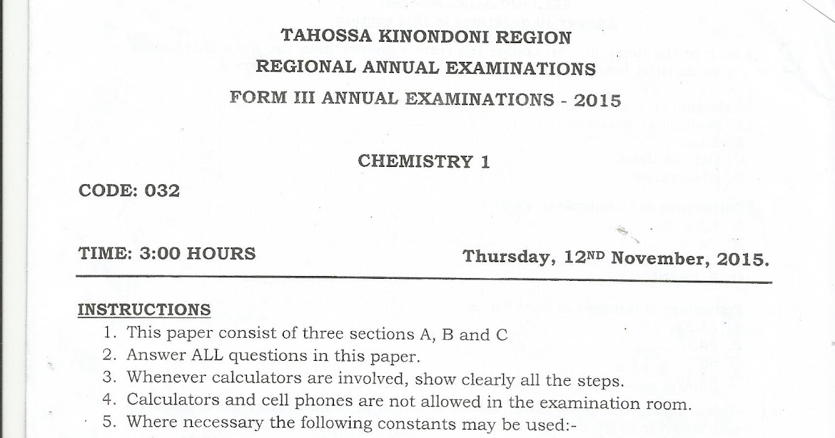 FORM THREE STUDY NOTES & PAST PAPERS BLOG: CHEMISTRY 1