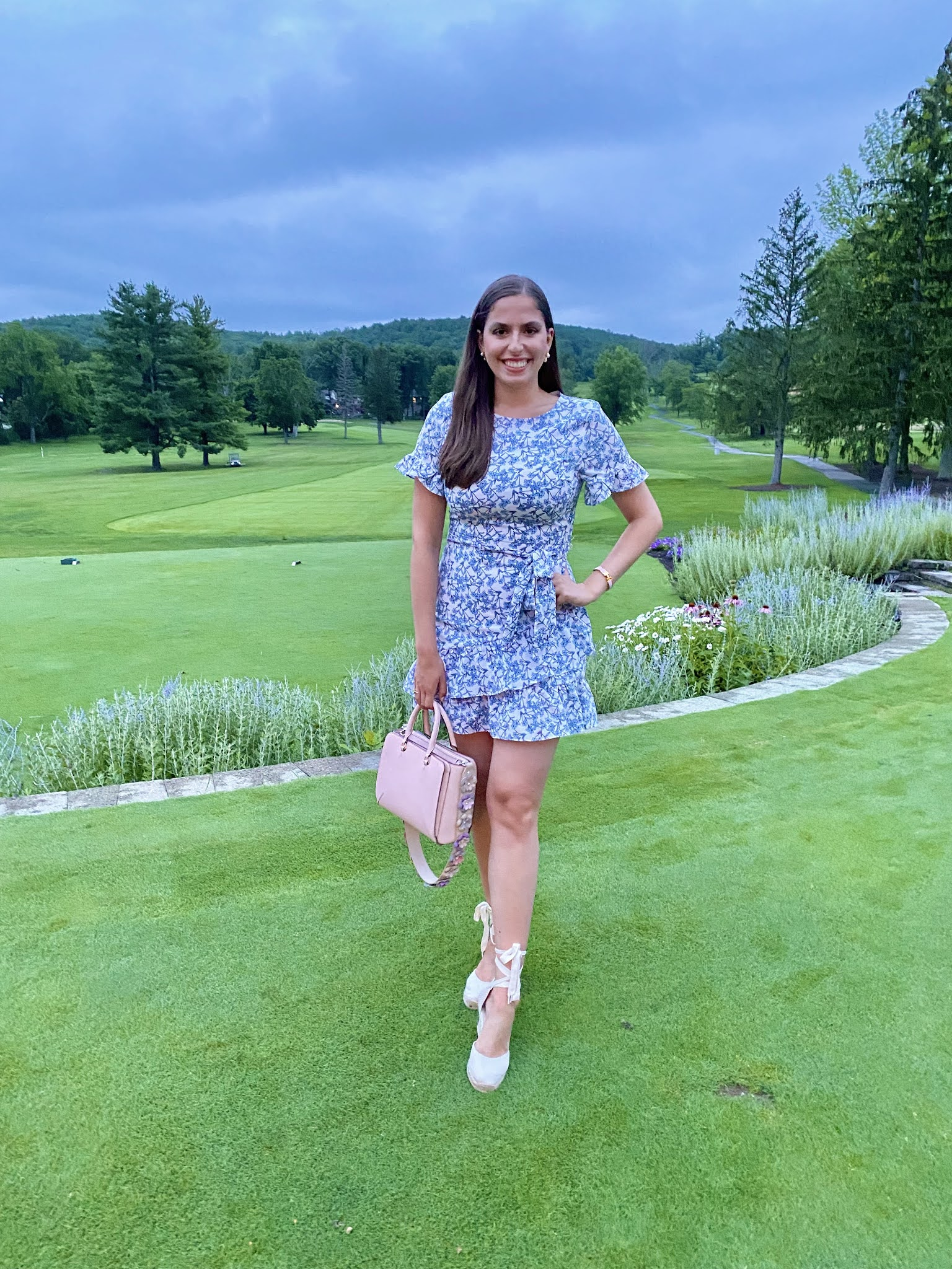 wedges, soludos, espadrilles, golf course, blue and white, floral dress