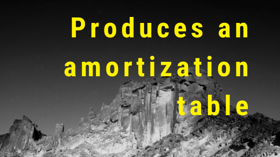 Produces an amortization table