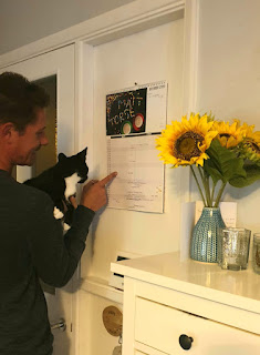 man showing black and white kitten the calendar