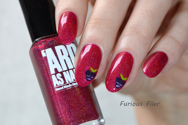 blackberry fruit nail art holo red decals holographic