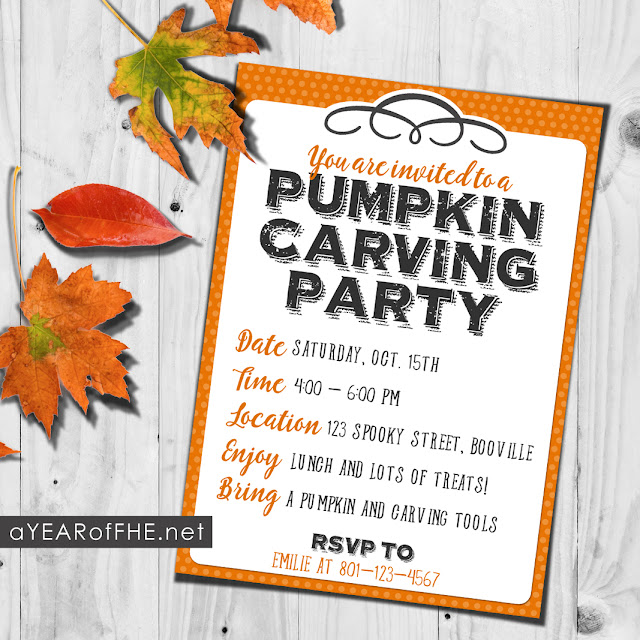 Free printable invite for a PUMPKIN CARVING PARTY. This is such an easy and fun tradition to start! #halloween #party #jackolantern