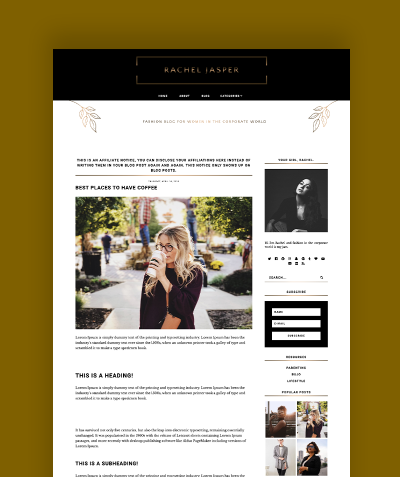 close up shot of Rachel Jasper blogger template