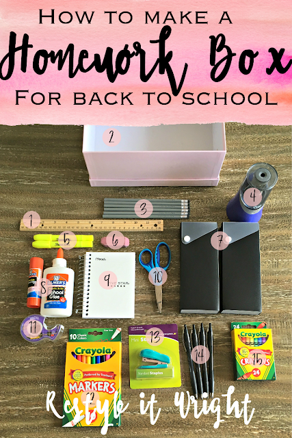 organized back to school study homework box