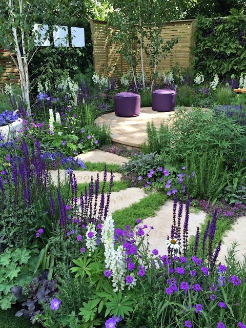 purple and white backyard garden ideas