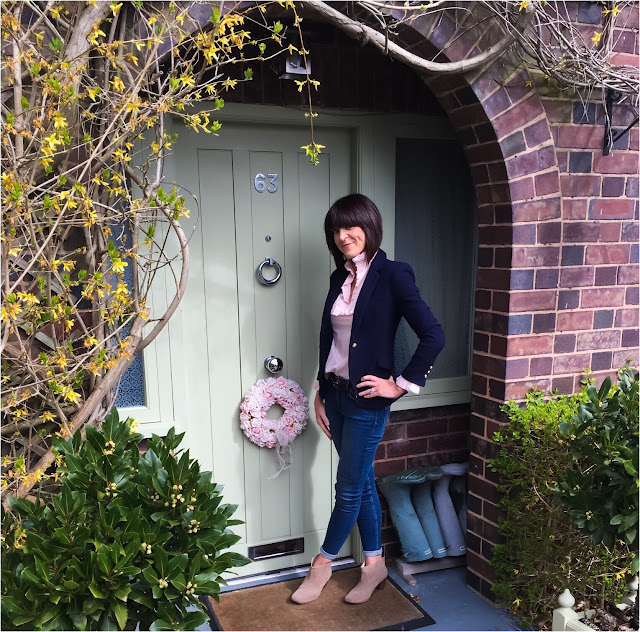 My Midlife Fashion, French Connection Rebound Skinny Jean, Marks and Spencer Alexa Chung The Harry Blouse, Zara single breasted blazer, cloggs shoes, hudson kiver ankle boots
