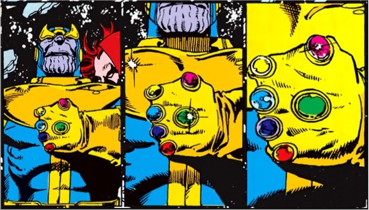 3 silent panels of successive close-ups on the Infinity Gauntlet worn by Thanos