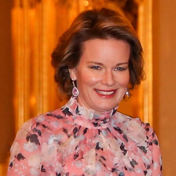Queen Mathilde wore Erdem Clementine gown in apsley pink, pink diamond earrings