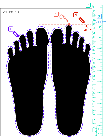 Cara ukur saiz kaki