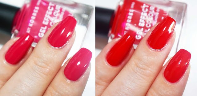 Korres Gel Effect Nail Colour Watermelon and Royal Red Swatches Sparkle PR
