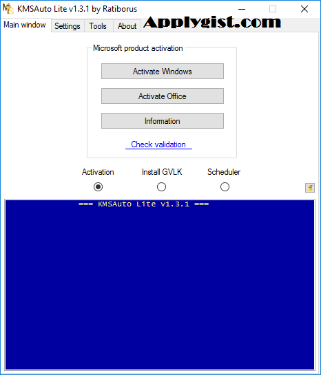 KMS-activator for the operating systems Windows