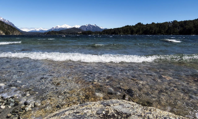 Where to find the Birds of Patagonia: Waves lapping up to shore in Bariloche Argentina