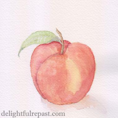 Summer Peach Cake (this image, my original watercolor of a yellow peach) / www.delightfulrepast.com